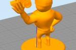 Treckerheld 3D-Modell stehend von hinten